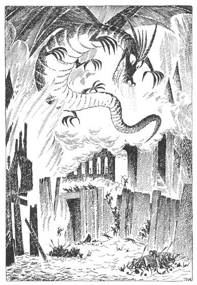 Smaug attacks the town