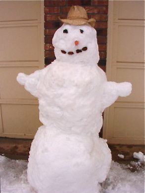Snowman in a straw hat