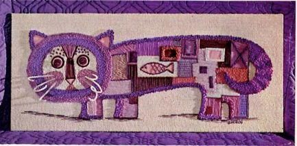 Purple cat with fish