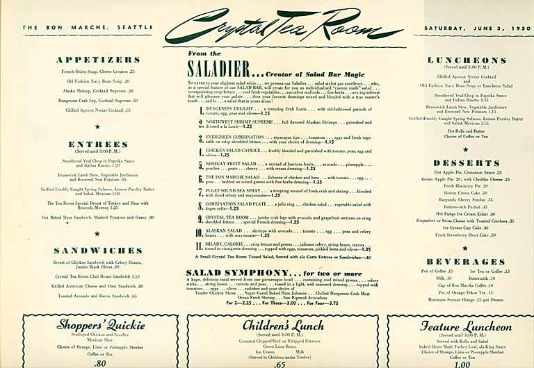This menu from the dog house is from the mid 1950s but they used the