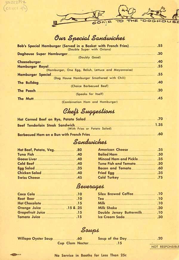 Old Seattle Restaurant Menus Looky