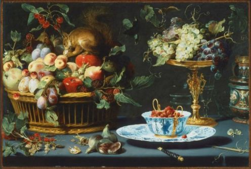 still-life-with-fruite-wan-li-porcelain-and-squirrel