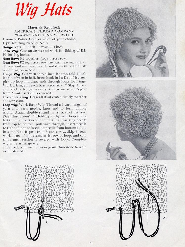 Vintage Knits  Wig Hats!  670ab1f3ca6