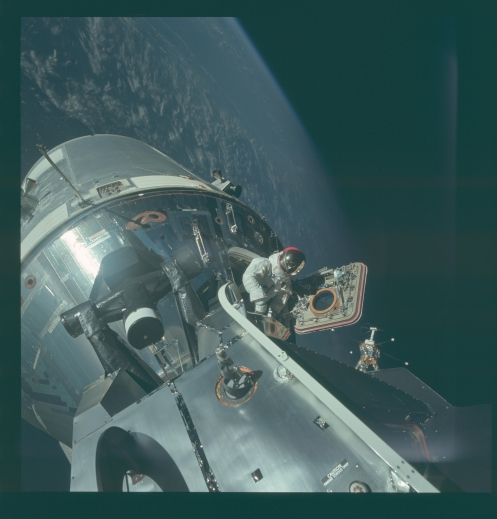 Hatch exit Apollo 9 space walk