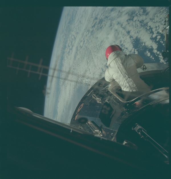 Viewing earth 2 Apollo 9 space walk