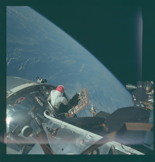 Viewing earth Apollo 9 space walk