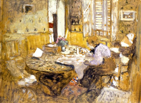 Madame Vuillard reading in the dining room 1903